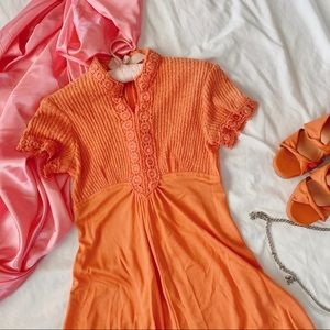 Vintage 60s Tangerine Whimsical Knit Floral Dress